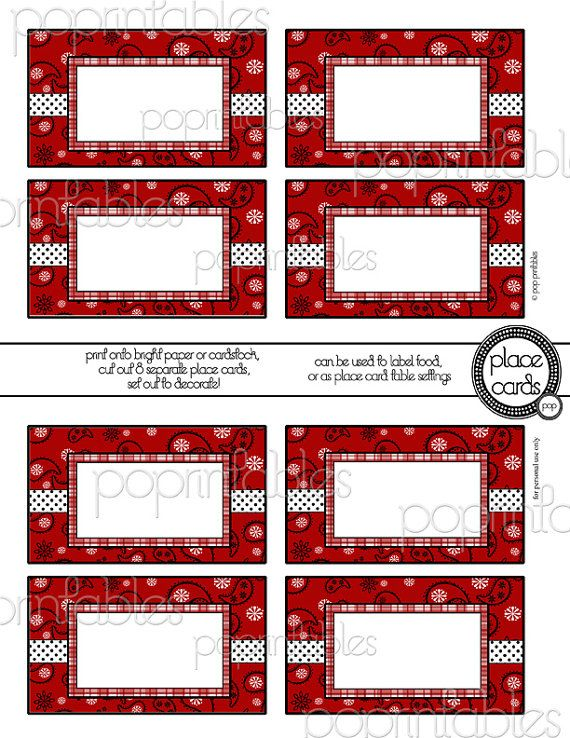 Red Bandana Bathroom Decor: Girl Boy Red Bandana Country Western Place Cards By