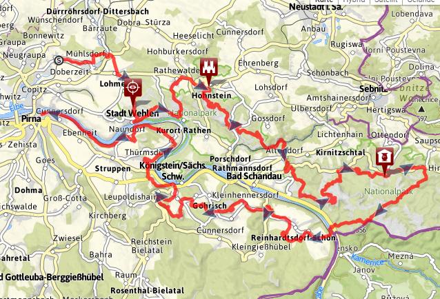 Wanderwege Deutschland Karte.Karte Malerweg Gesamt Germany Sachsen Wanderwege Sächsische