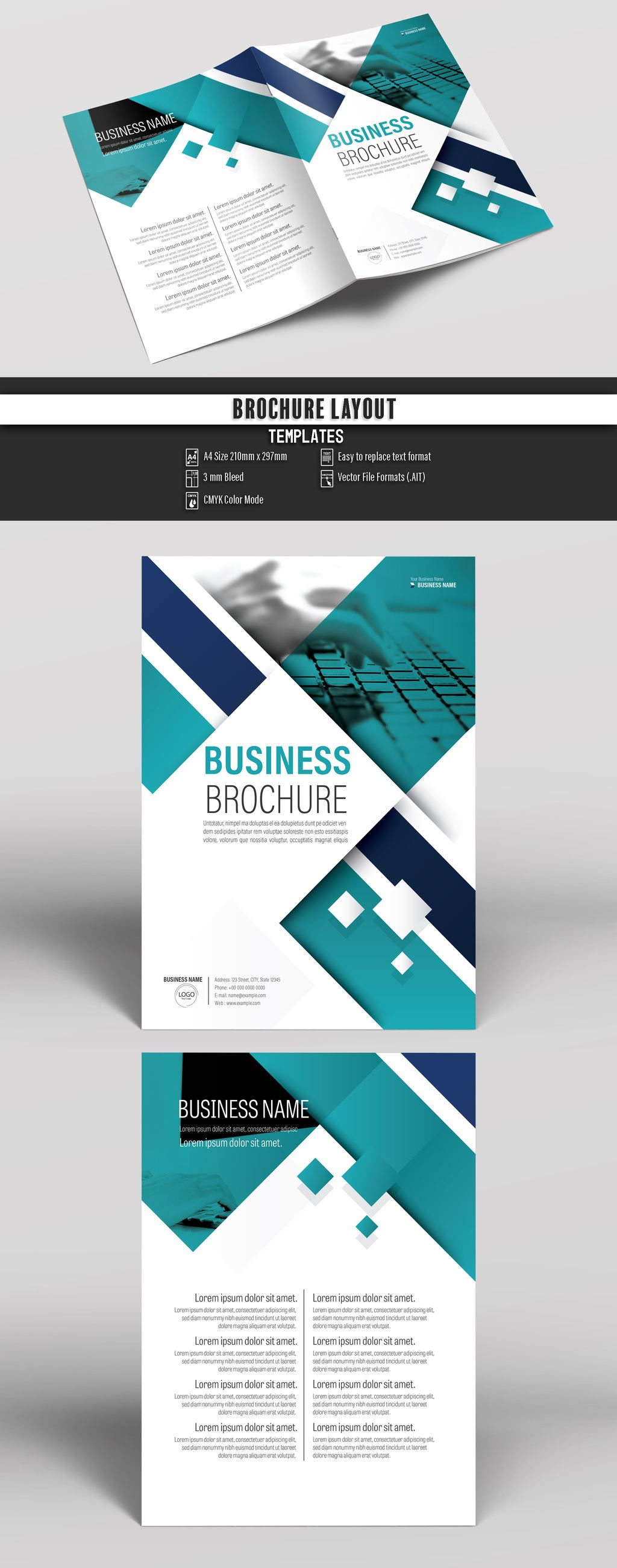 Brochure Cover Layout with Teal and Blue