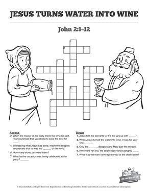 Jesus Turns Water Into Wine Sunday School Crossword Puzzles: Jesus ...