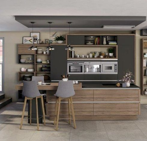 Https Www Ixina Fr Cuisines Cuisine Equipee Ilot Moda Color Gris Ardoise Inspiration Cuisine Cuisine Ixina Cuisine Moderne