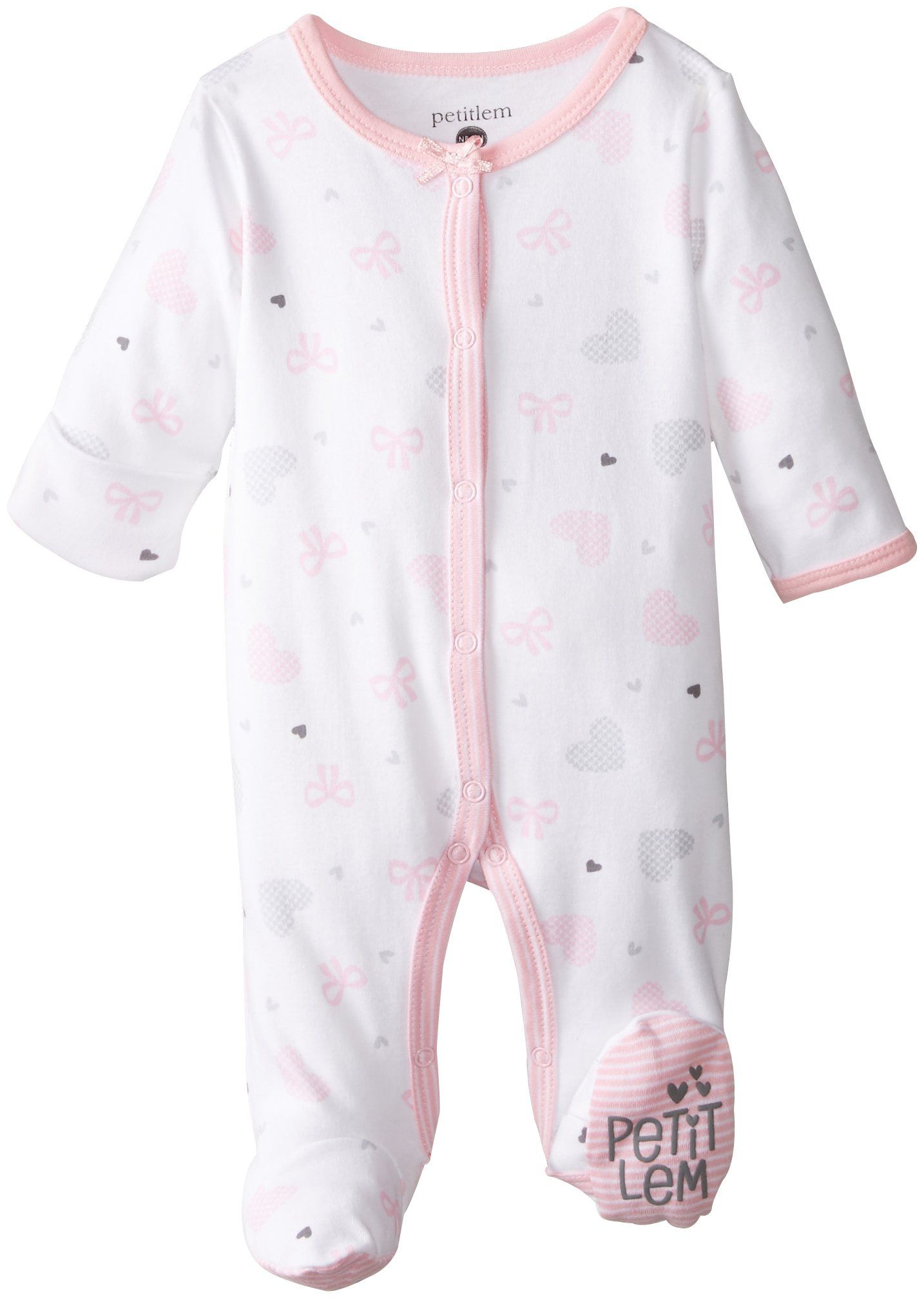 60dc2fa9d Amazon.com: Petit Lem Baby-Girls Newborn Bow Heart Footed Sleeper: Clothing