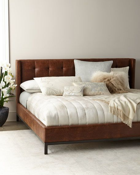 Patterson Tufted Platform King Bed Leather Bed Frame Farmhouse