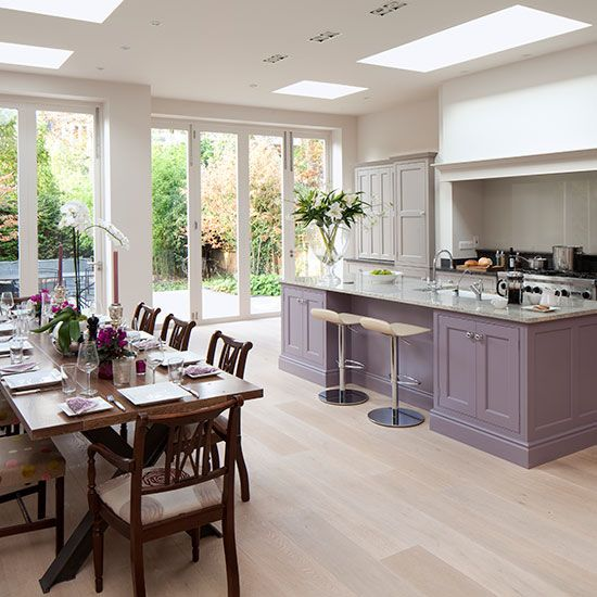Spacious Grey And Purple Kitchen Diner With Oak Wood Floor