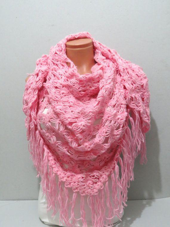 pink crochet scarf
