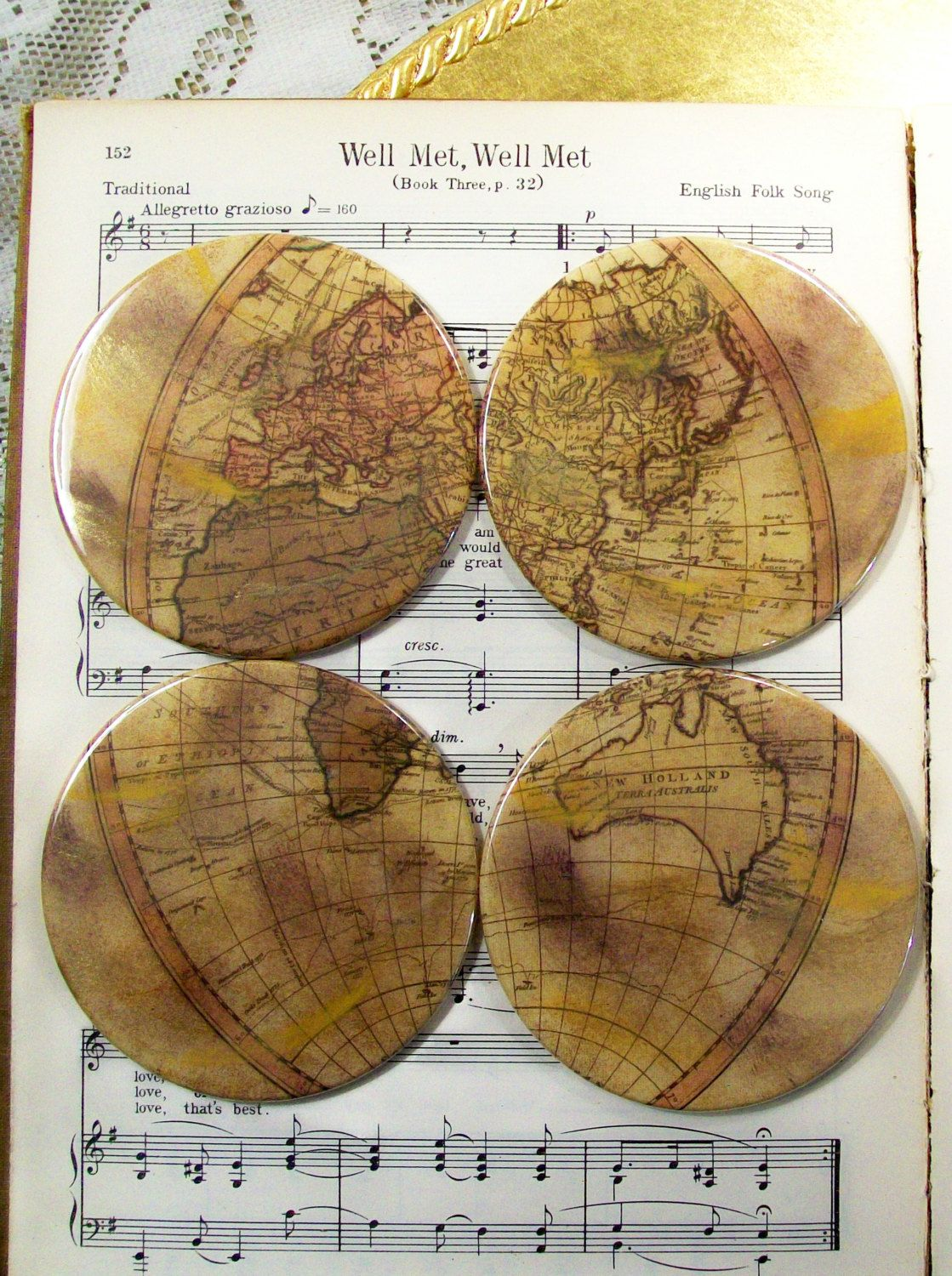 Map Coasters Set of 4 Historical Eastern