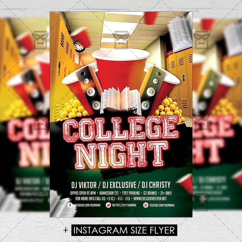 College Night Premium A5 Flyer Template Exclsiveflyer Free And Flyer Template Flyer Party Flyer