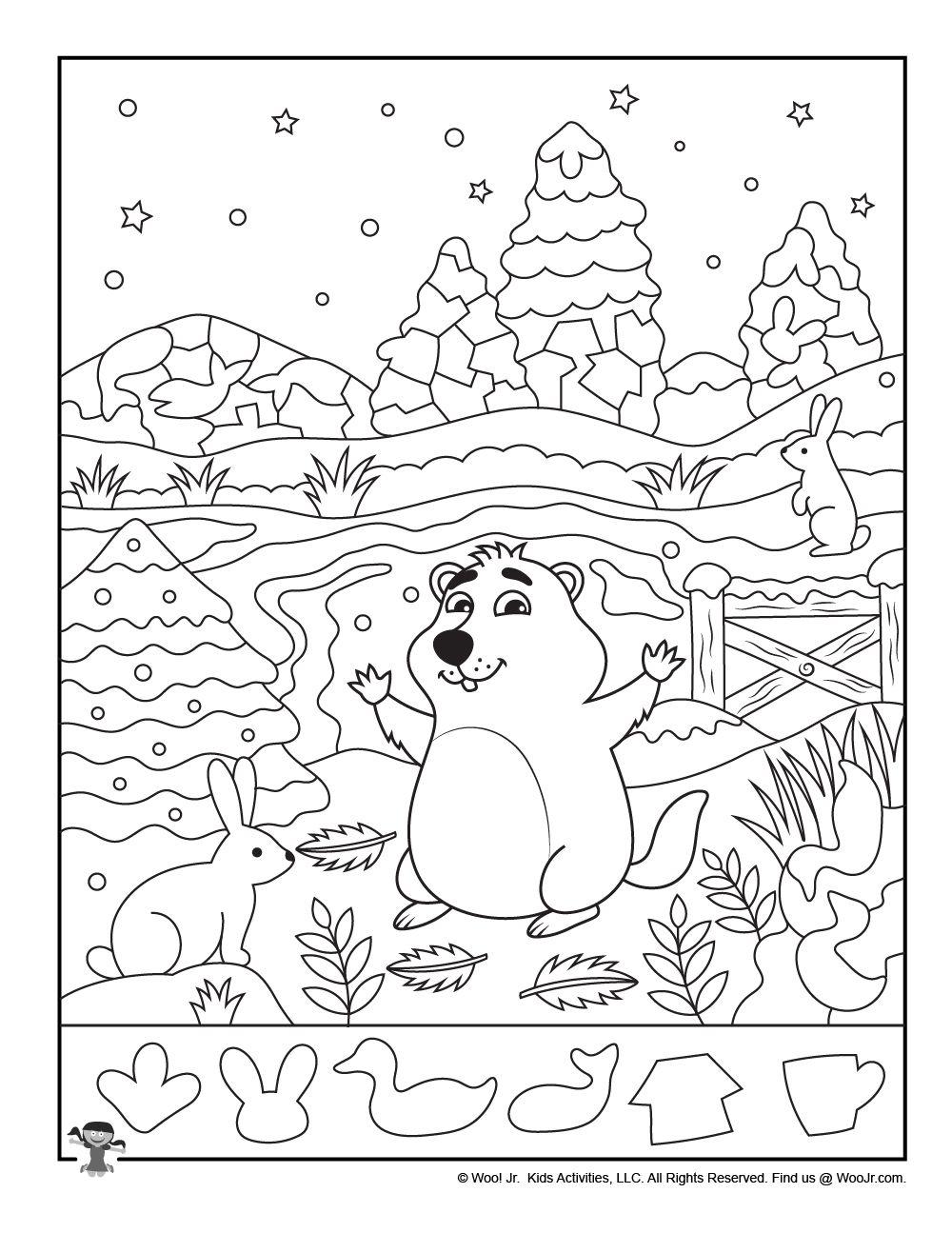 Groundhog Day Hidden Picture Woo Jr Kids Activities Hidden Pictures Groundhog Day Hidden Pictures Printables [ 1295 x 1000 Pixel ]