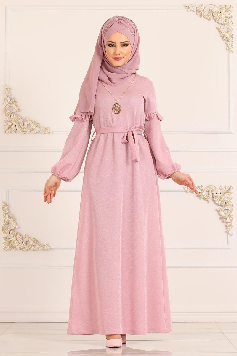 Modaselvim Elbise Kolu Firfirli Simli Elbise 3893mb205 Pudra Model Pakaian Pakaian Muslim