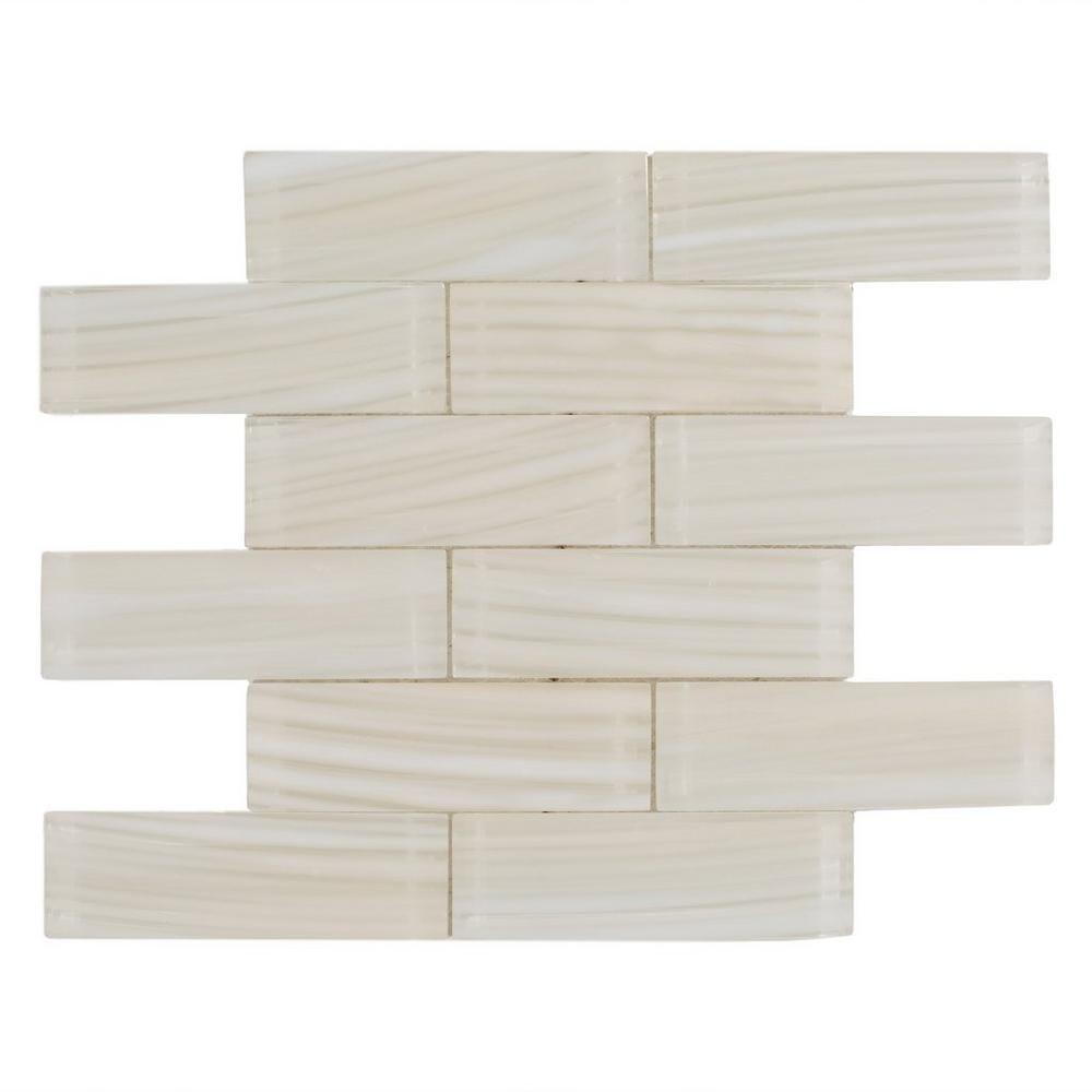 artistry cream brick glass mosaic bathroom redo decorative tile rh pinterest com