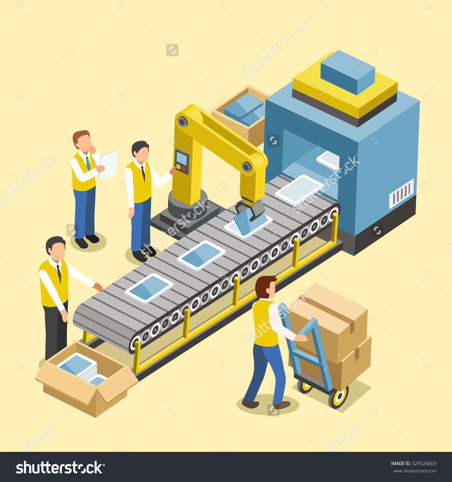 Stock photo robotic production line concept in d isometric for Production builder
