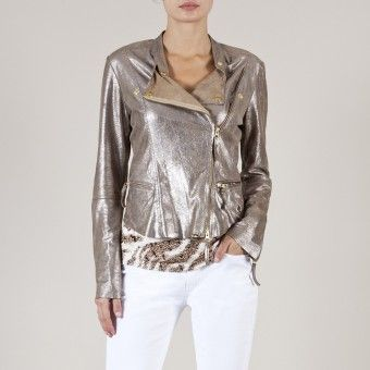 Blouson cuir marron one step