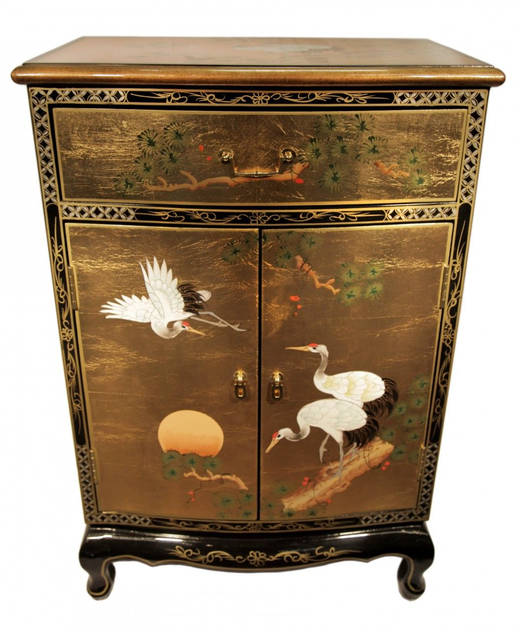 36 round front gold leaf shoe cabinet hand painted cranes in 2018 rh pinterest com