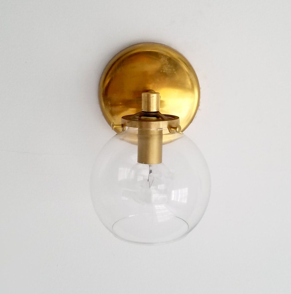 interesting bathroom light fixtures%0A modern glass and brass kitchen bathroom sconce midcentury modern