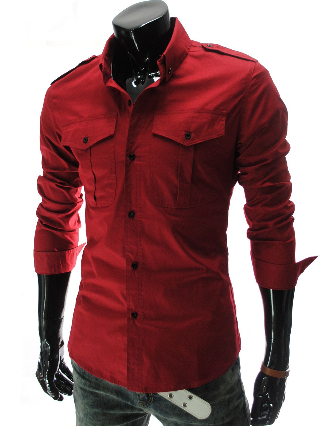 217accb808 (N316-REDWINE) Mens Casual Slim Fit Strap Big Pocket Shirts RED WINE  22.49