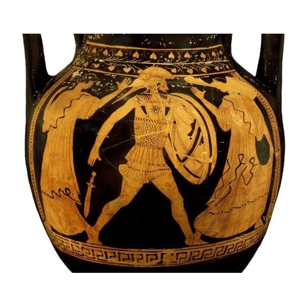 An Athenian wine jar that shows the reunion of Menelaos (Menelaus), and Helen. It is a great image that gives a good frontal view of the armour of the period (470-450 BCE), as well as a slight look at the interior pieces of the aspis.