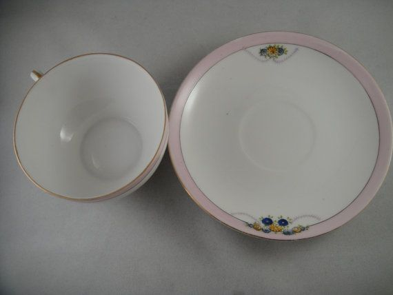 Noritake China Cup and Saucer White with Pink Rim and Blue and Yellow Flowers #pinkrims
