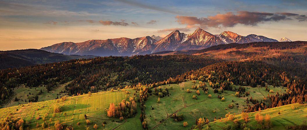 Widok na Tatry Bielskie i Zamagórze, Pieniny Spiskie