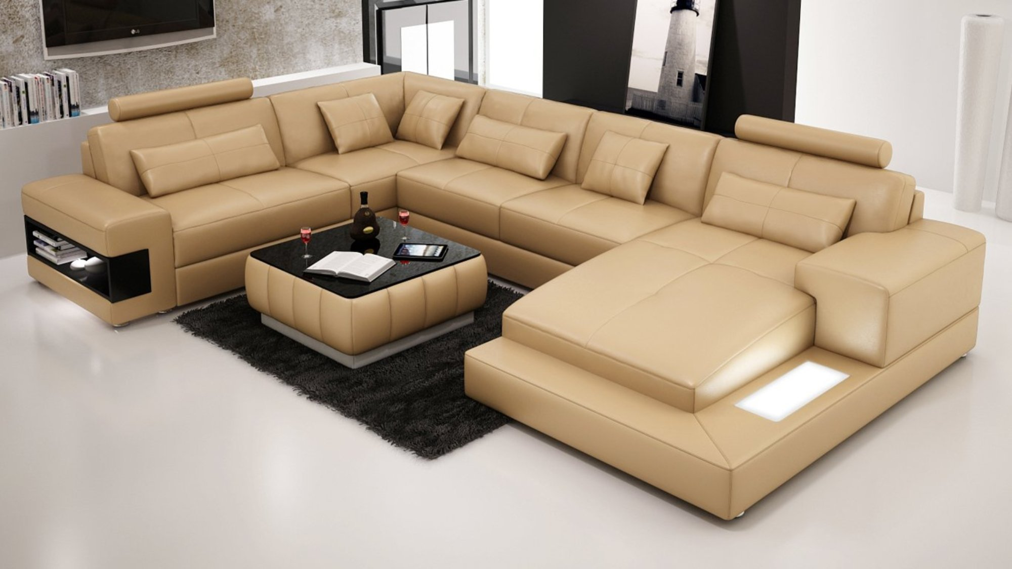 Designer Modern Large Leather Sofa Corner Suite New Settee Sandbeige Chaise To Review Leather Corner Sofa Corner Sofa Design Leather Sofa Living Room