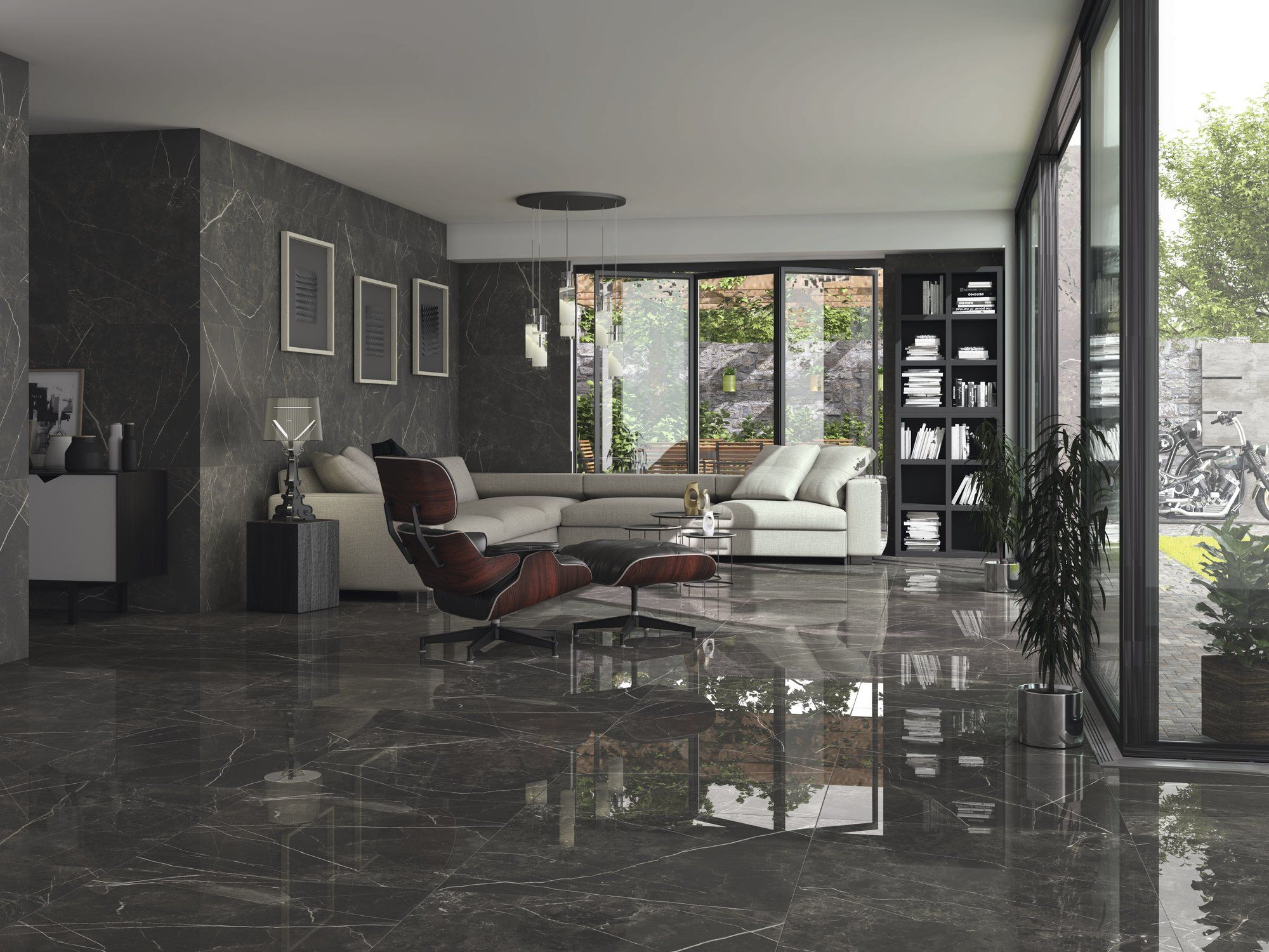 Dark Tranquility Is Here Black Jack 75x75cm From Ape Is A Marble Large Format Tile In Black This Tile Gives A Di Living Room Tiles Tile Bedroom Floor Design