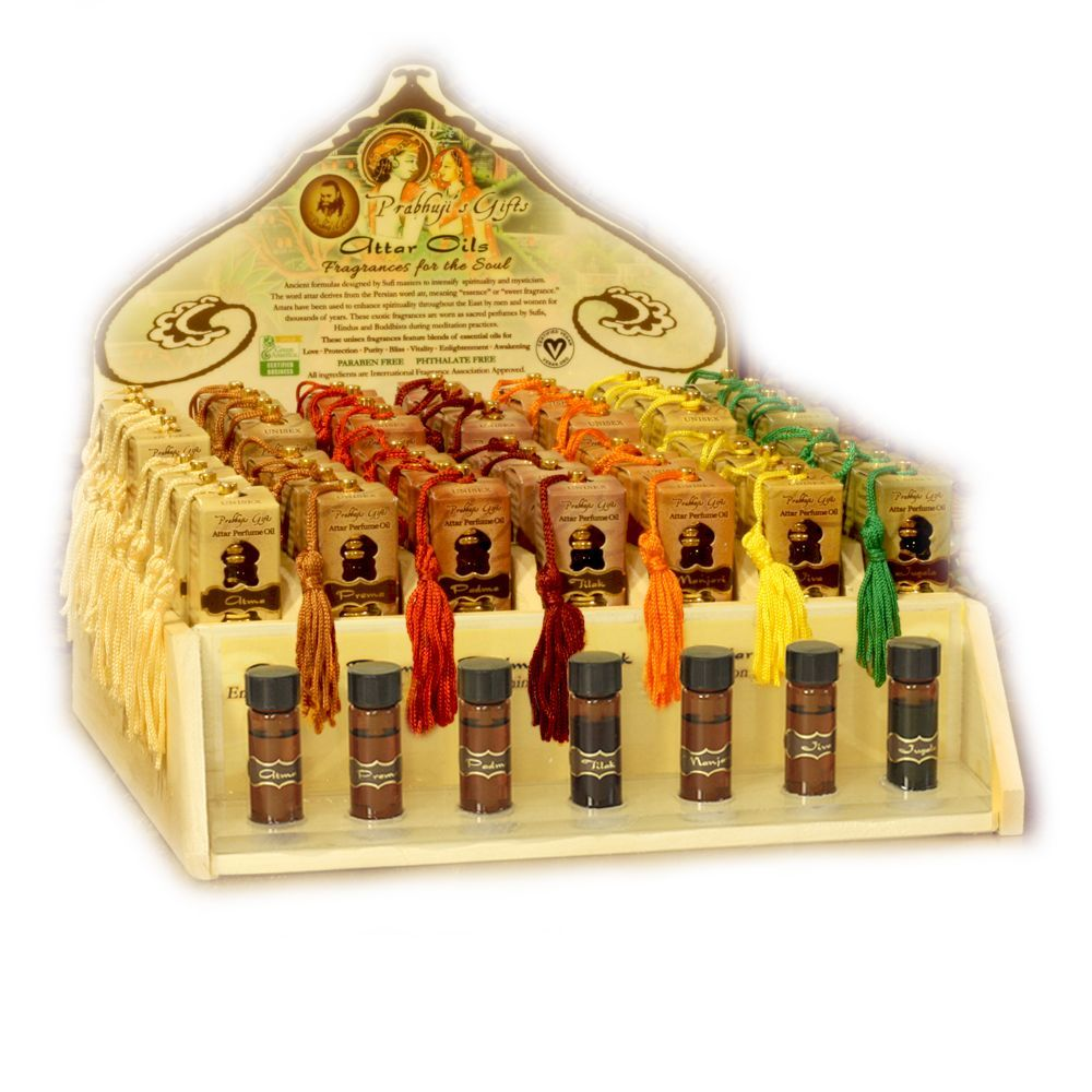 Display Rack - Perfume Attar Oils Rack for 56 Tassel Bottles with testers