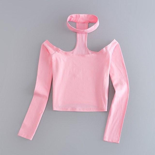 0309993e72b81 Long Sleeve Crop Top Choker Slash Neck Black Pink Tshirt Women Off The  Shoulder Tops For Women Tee Shirt Femme American Apparel