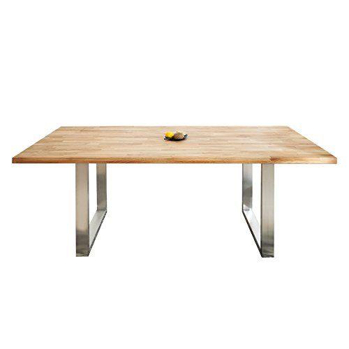 Massiver Esstisch WOTAN 200cm Eiche Geölt Hochwertiger Edelstahlrahmen  Holztisch Massivholz Küchentisch