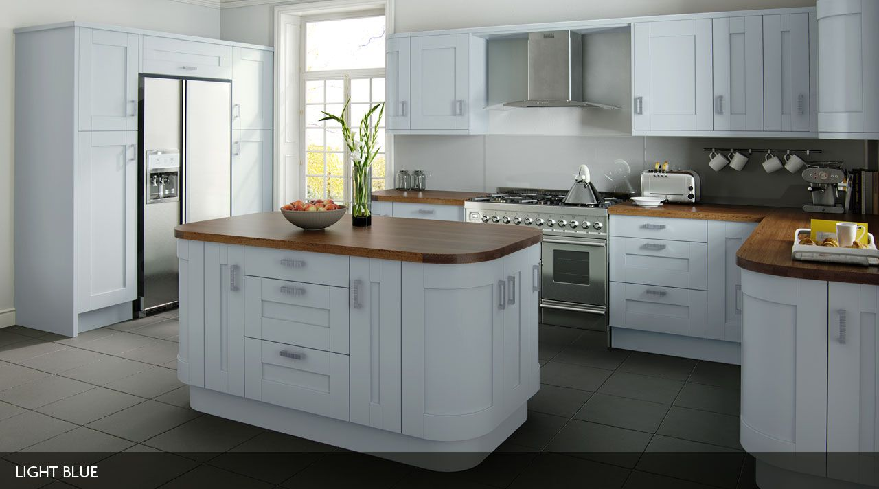 Contemporary kitchen in light blue This painted