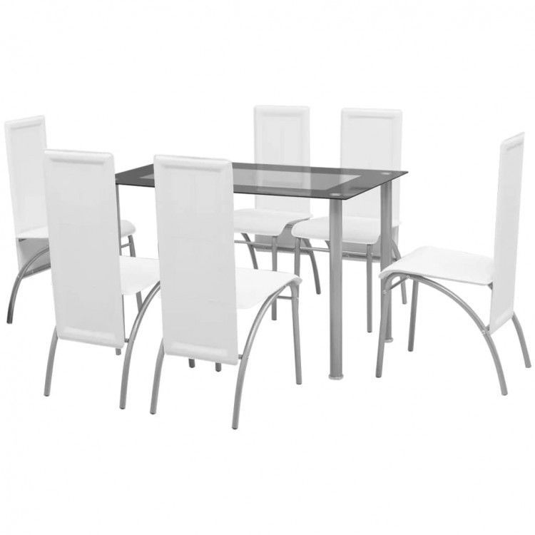 Details About Dining Table Chairs Set Of 7 Tempered Glass Stand