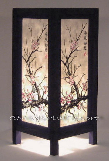 Asian Oriental Home Art Table Bedside Nightstand Lamp Japanese Sakura Tree Bedside Table Lamps Wood Paper Light Shades Asian Home Decor