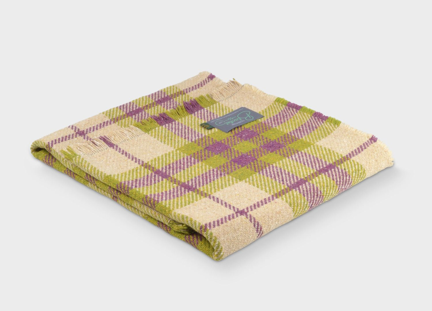 ef9f913f70 The British Blanket Company  Mulberry and Green Recycled Wool Throw