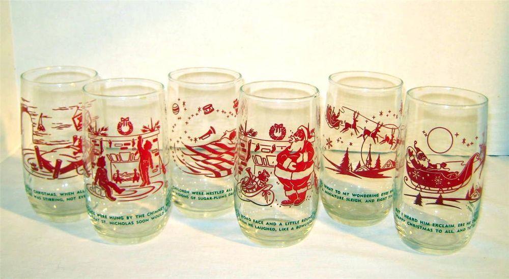 S vintage christmas drinking glasses set night before