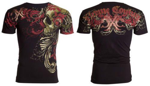 Xtreme Couture By Affliction Hombre Camiseta Calavera Tatuaje MOTOCICLISTA  UFC Telephus  40 414106e7398dc