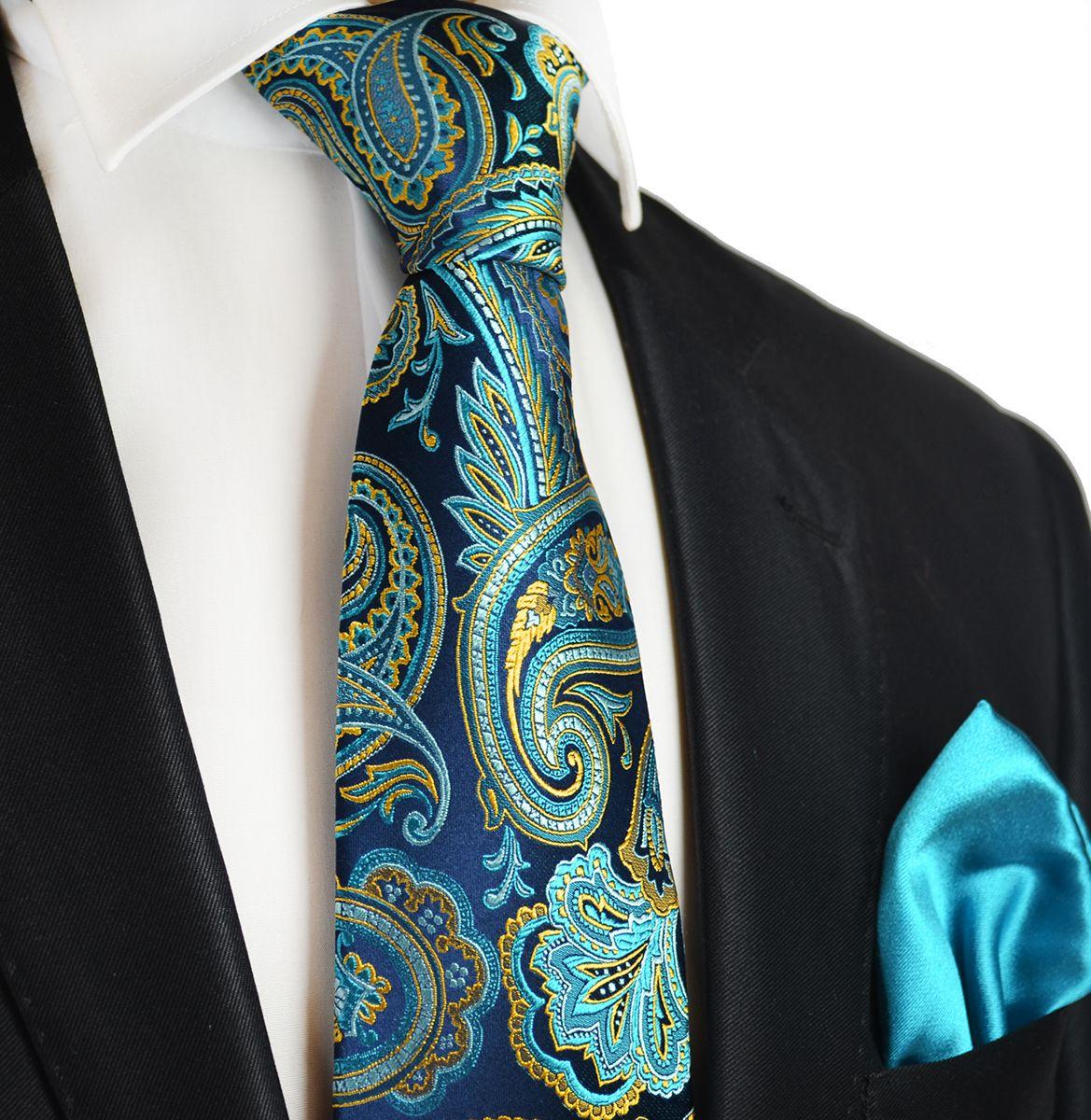f891c7062393 Turquoise Paul Malone 7-fold Silk Tie and Pocket Square | Elegant ...