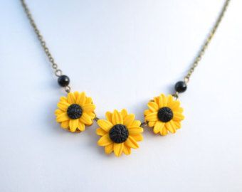 Sunflower necklace sunflower jewelry gifts yellow sunflower sunflower necklace sunflower jewelry gifts yellow sunflower bridesmaid sunflower flower necklace bridal flowers bridesmaid necklace sunflower mightylinksfo