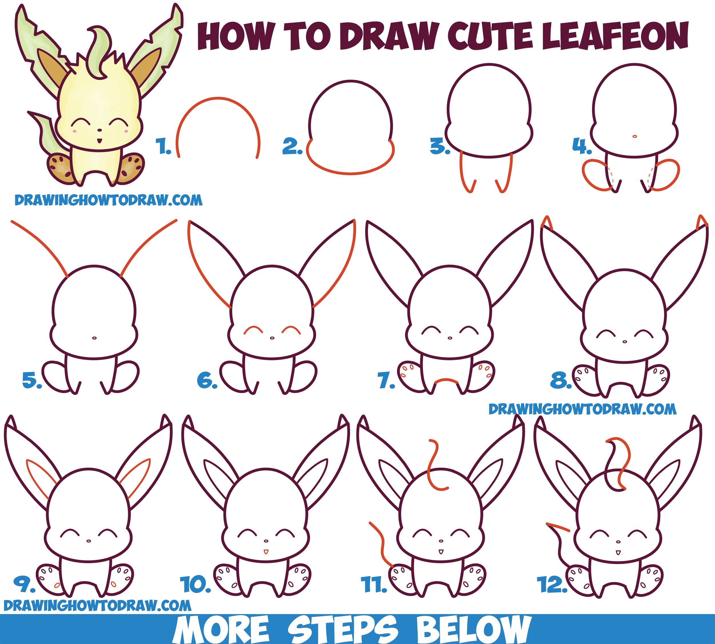 How To Draw Cute Kawaii Chibi Leafeon From Pokemon Easy Step By Step Drawing Tutorial For Kids How To Draw Step By Step Drawing Tutorials Cute Drawings Pokemon Drawings Drawing