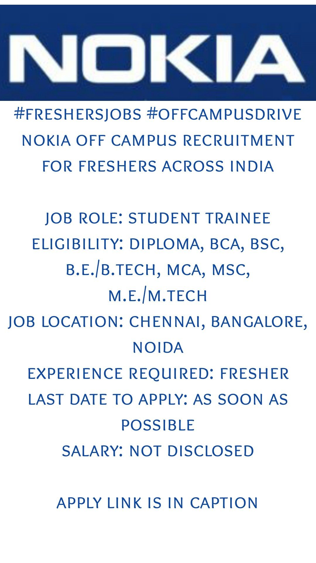 Nokia Off Campus Recruitment For Freshers in 2020 Time