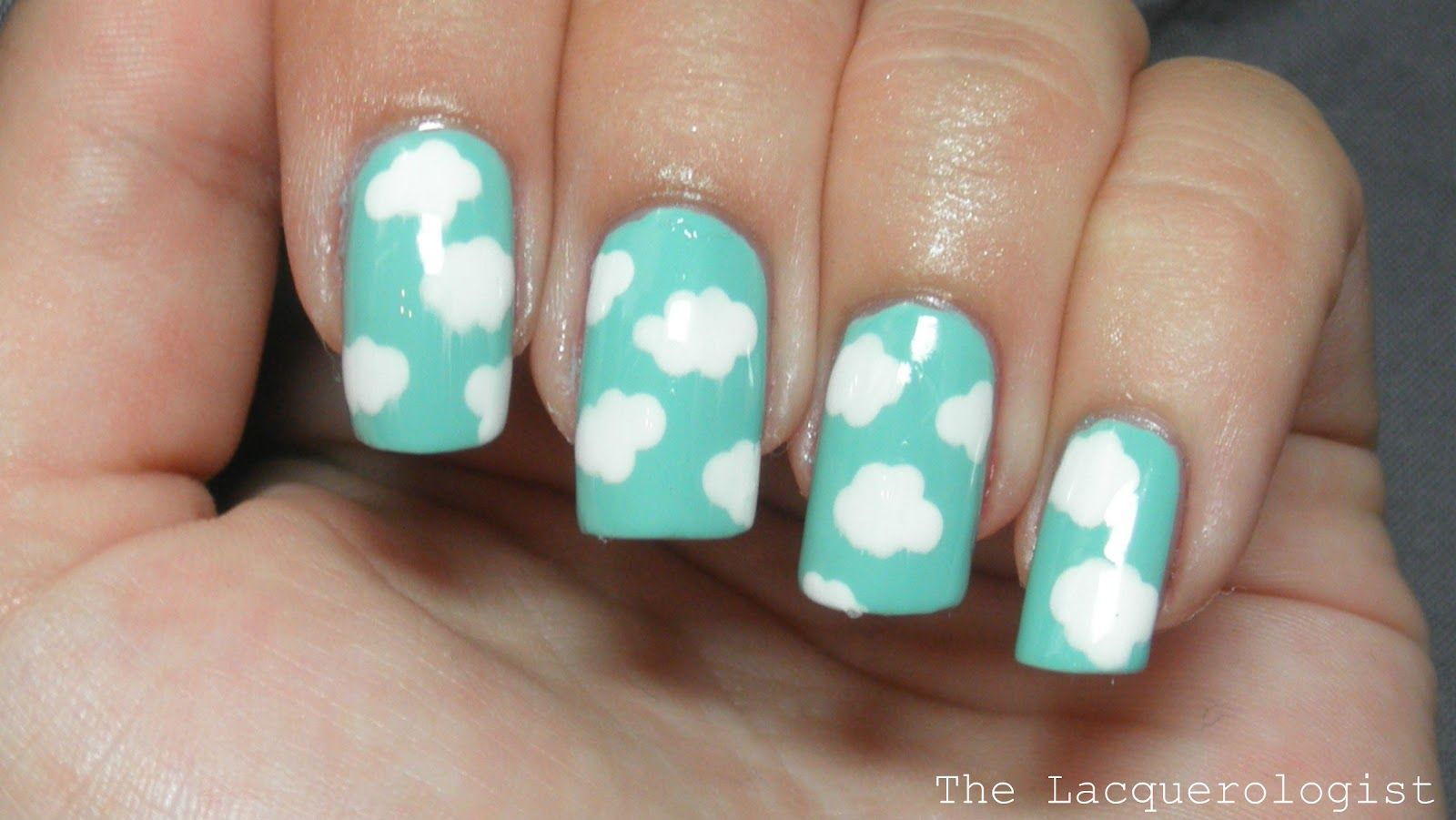 The lacquerologist cloud simple nail art tutorial nails