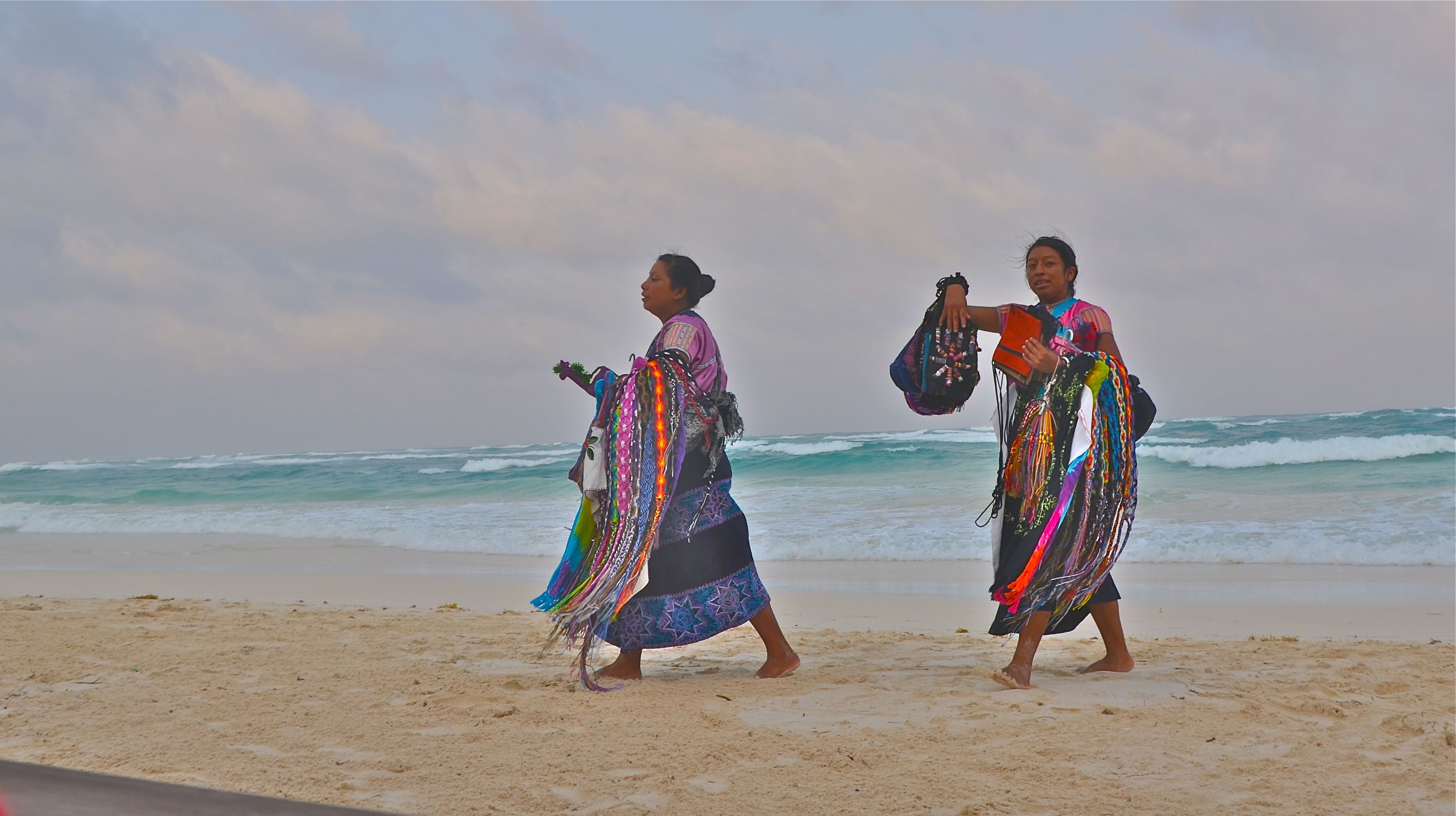 Indigenous women politely selling to touriststhis is