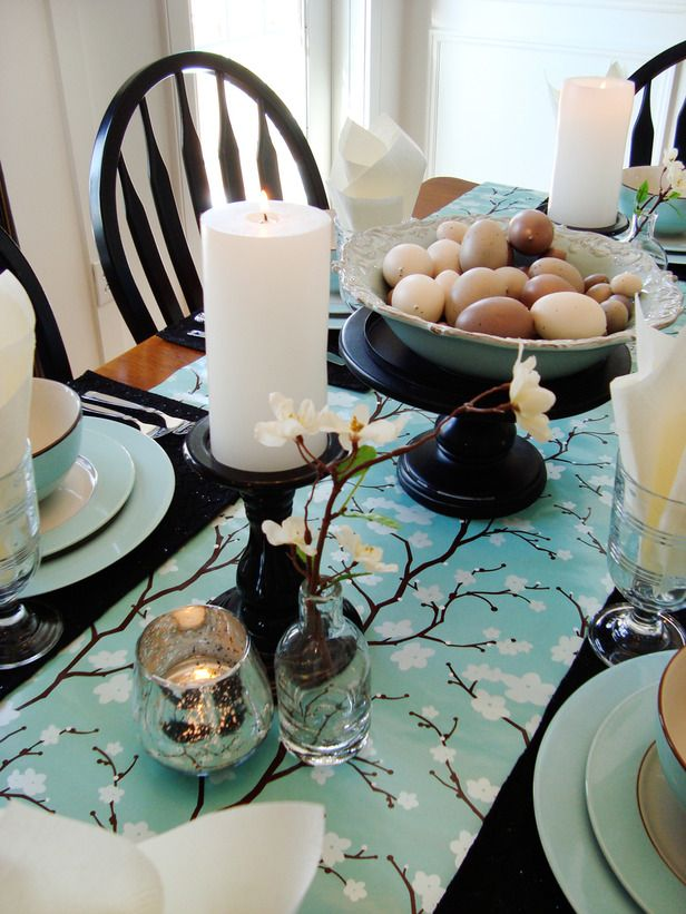 Spring Awakening Easter - blossom runner, folded napkins, fresh candles & branches ♥