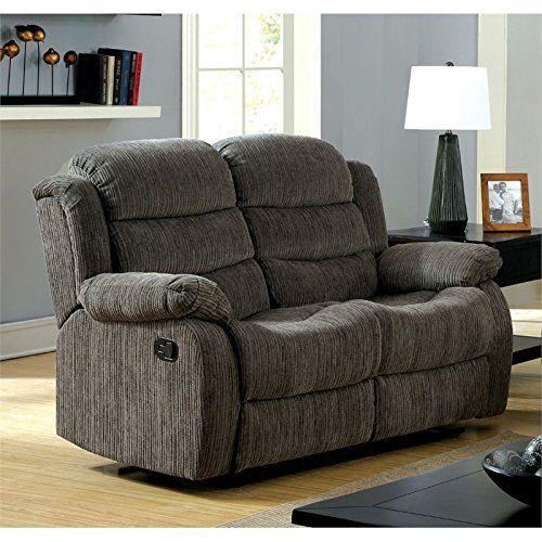 furniture of america enrique fabric reclining loveseat in gray rh pinterest com