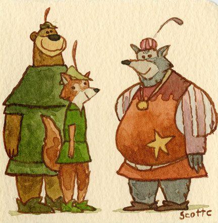 Robin Hood and Little John runnin' through the forest