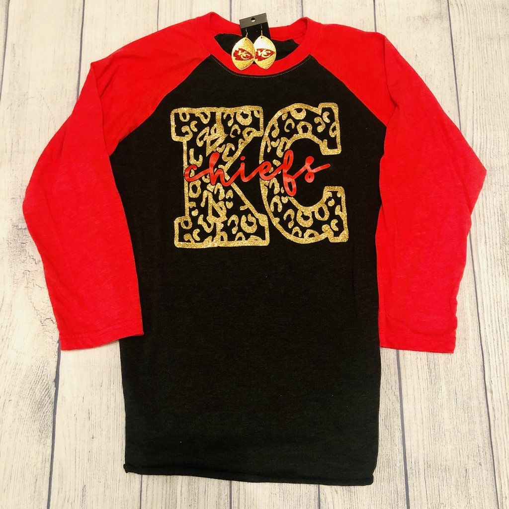 Kansas City Chiefs Leopard Cheetah Print 3/4 Sleeve | Women's KC Chiefs Football Shirt |