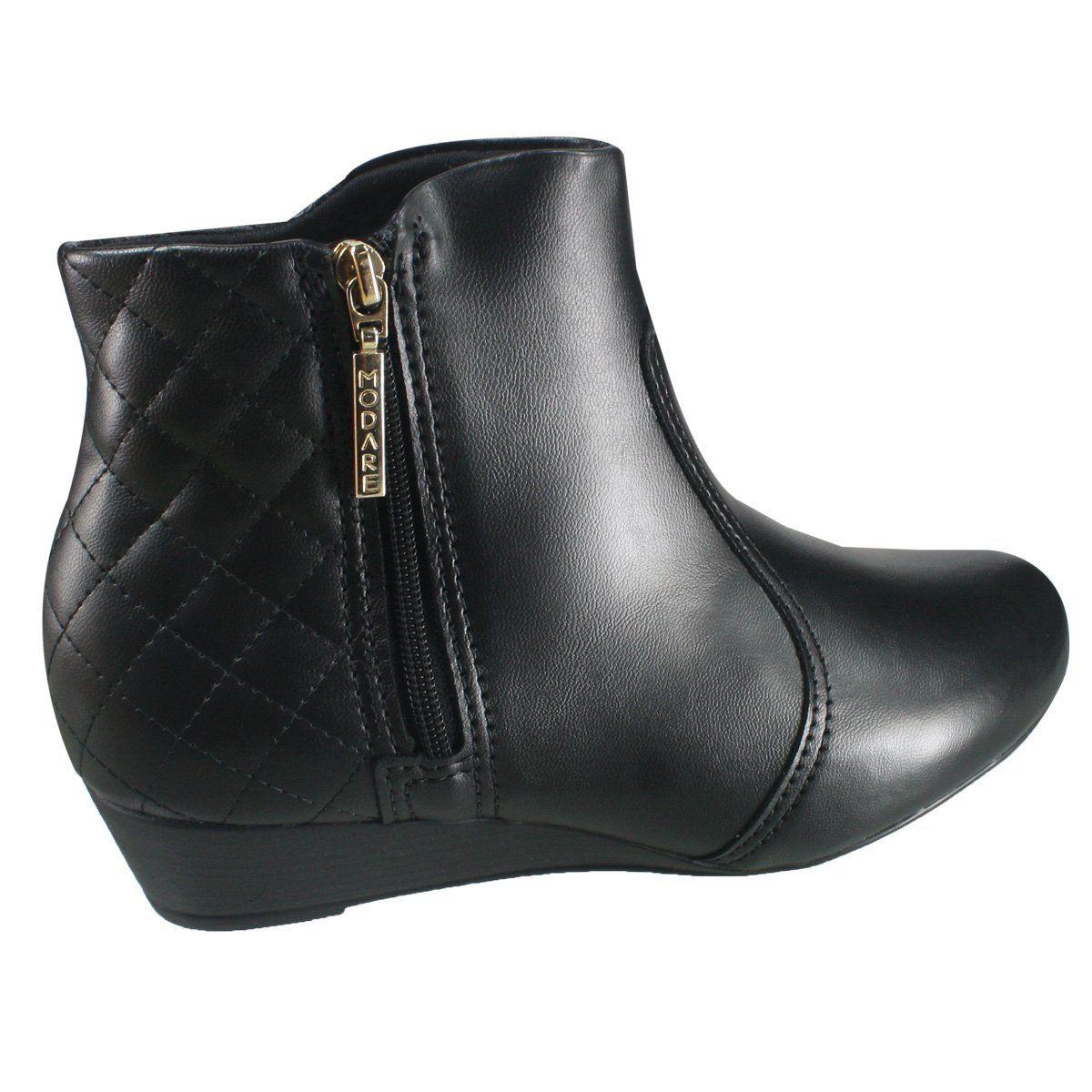 40115aab5f Bota Feminina Modare Ultra Conforto Anabela 7048.210 5536 15745 - Preto  (Napa Sense Flex) - Calçados Online Sandálias