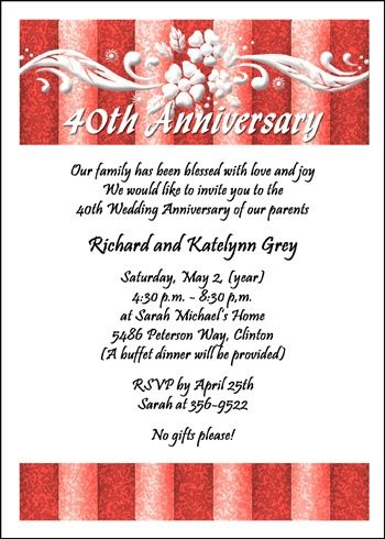 40th Anniversary Party Invitations Card At Cardsshoppe Com