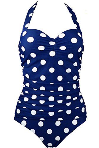 Dawafa Retro Vintage Flora Print White Polka One Piece Swimwear Blue XXLarge -- Be sure to check out this awesome product.