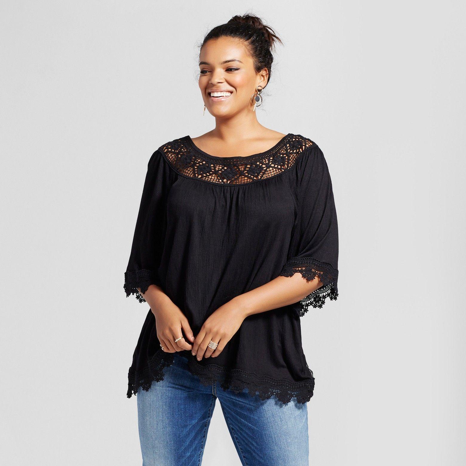 4409d65c5a0 Women s Plus Size Crochet Off the Shoulder Printed Top - Xhilaration™ Black    Target