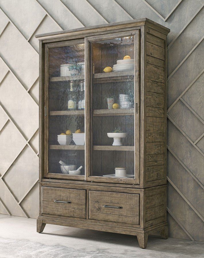 Plank Road Darby Display Cabinet (Stone) In 2019