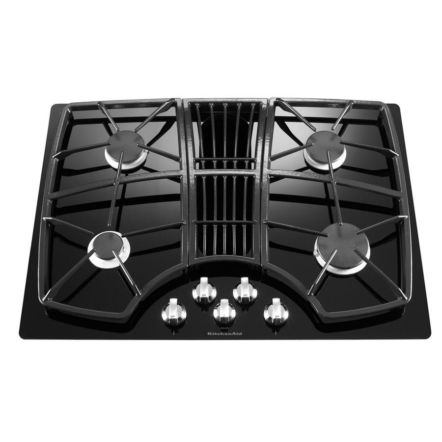 shop kitchenaid 30 in 4 burner downdraft gas cooktop black at rh pinterest com
