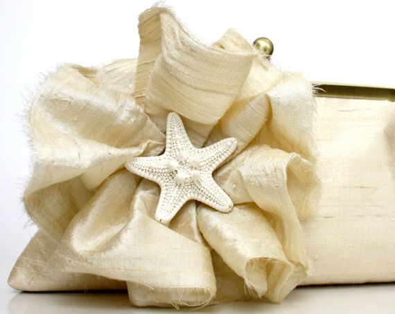 Ivory Bridal Clutch Beach Wedding with Ruffle Flower and by jandem, $90.00